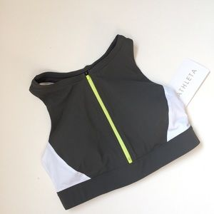 🧡Color block Zip front Bikini Top